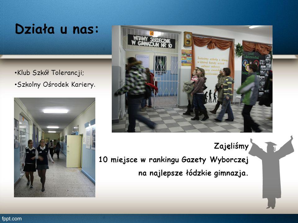 Działa u nas: Klub Szkół Tolerancji; Szkolny Ośrodek Kariery. Zajęliśmy 10 miejsce w rankingu Gazety Wyborczej na najlepsze łódzkie gimnazja.
