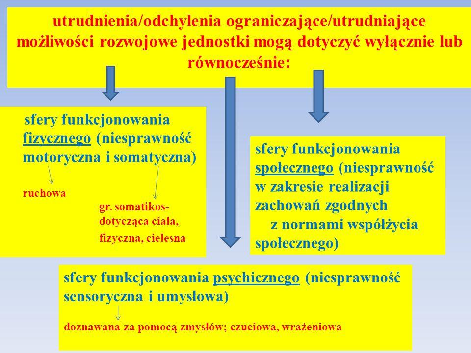utrudnienia/odchylenia ograniczające/utrudniające możliwości rozwojowe jednostki mogą dotyczyć wyłącznie lub równocześnie : sfery funkcjonowania fizyc