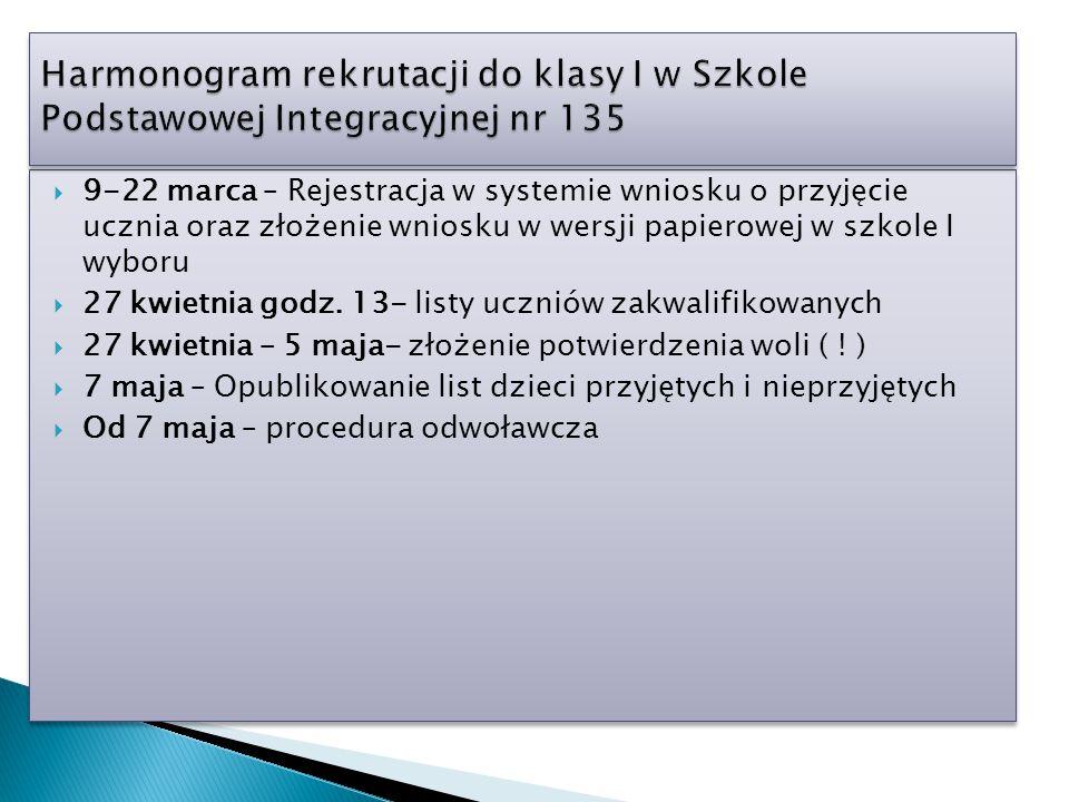  9-22 marca – Rejestracja w systemie wniosku o przyjęcie ucznia oraz złożenie wniosku w wersji papierowej w szkole I wyboru  27 kwietnia godz. 13- l