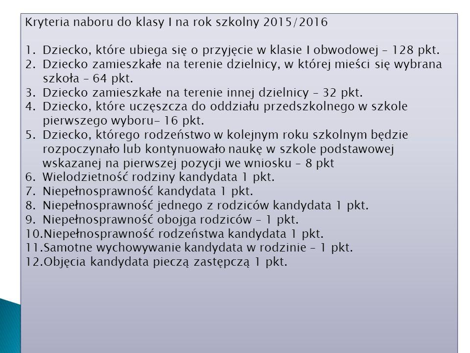 Kryteria naboru do klasy I na rok szkolny 2015/2016 1.Dziecko, które ubiega się o przyjęcie w klasie I obwodowej – 128 pkt. 2.Dziecko zamieszkałe na t