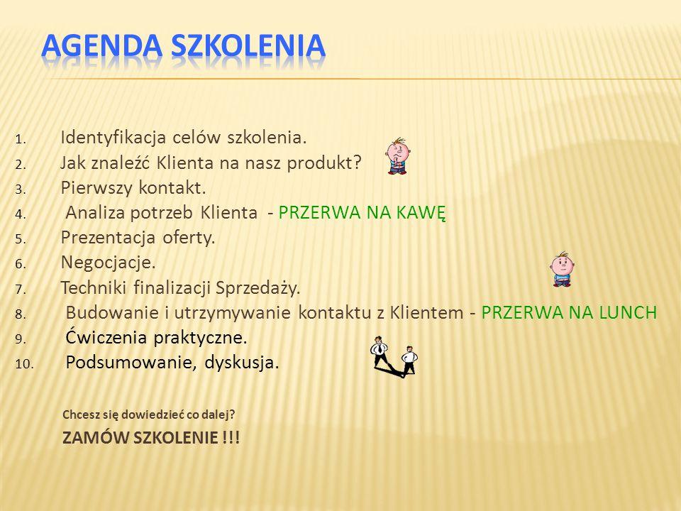 1. Identyfikacja celów szkolenia. 2. Jak znaleźć Klienta na nasz produkt? 3. Pierwszy kontakt. 4. Analiza potrzeb Klienta - PRZERWA NA KAWĘ 5. Prezent