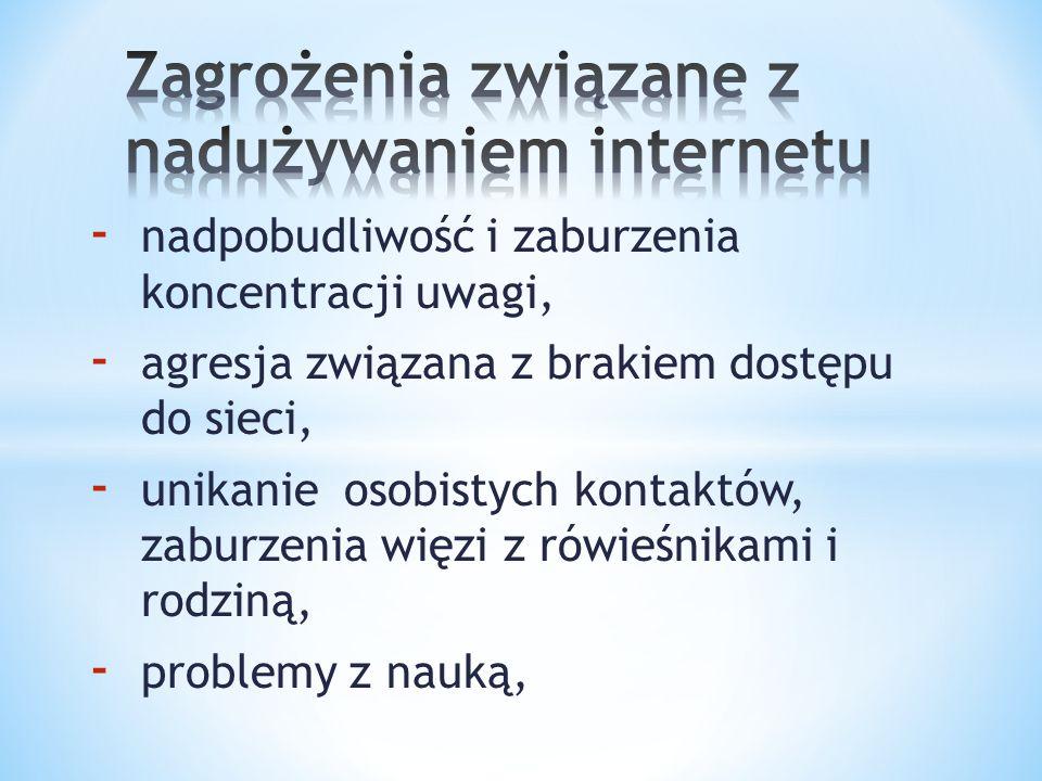 - nadpobudliwość i zaburzenia koncentracji uwagi, - agresja związana z brakiem dostępu do sieci, - unikanie osobistych kontaktów, zaburzenia więzi z r