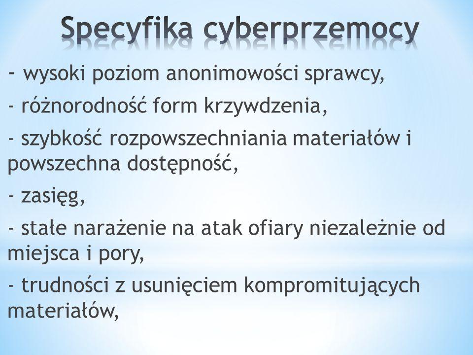 - wysoki poziom anonimowości sprawcy, - różnorodność form krzywdzenia, - szybkość rozpowszechniania materiałów i powszechna dostępność, - zasięg, - st