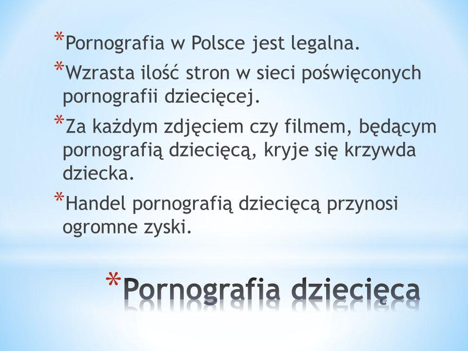 * Pornografia w Polsce jest legalna. * Wzrasta ilość stron w sieci poświęconych pornografii dziecięcej. * Za każdym zdjęciem czy filmem, będącym porno