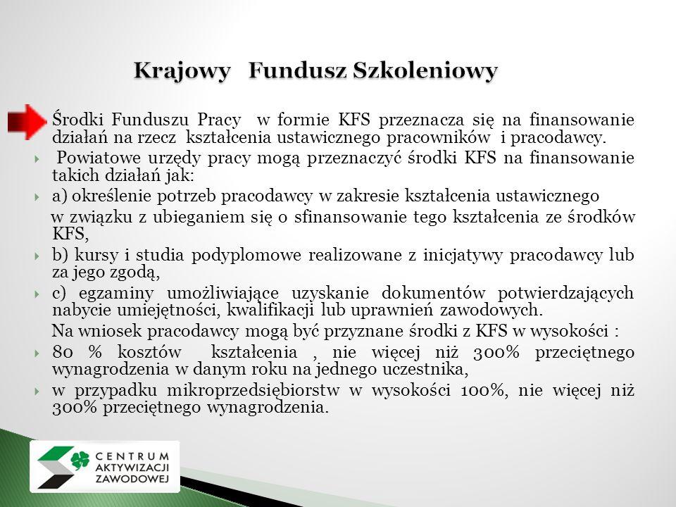  Środki Funduszu Pracy w formie KFS przeznacza się na finansowanie działań na rzecz kształcenia ustawicznego pracowników i pracodawcy.  Powiatowe ur