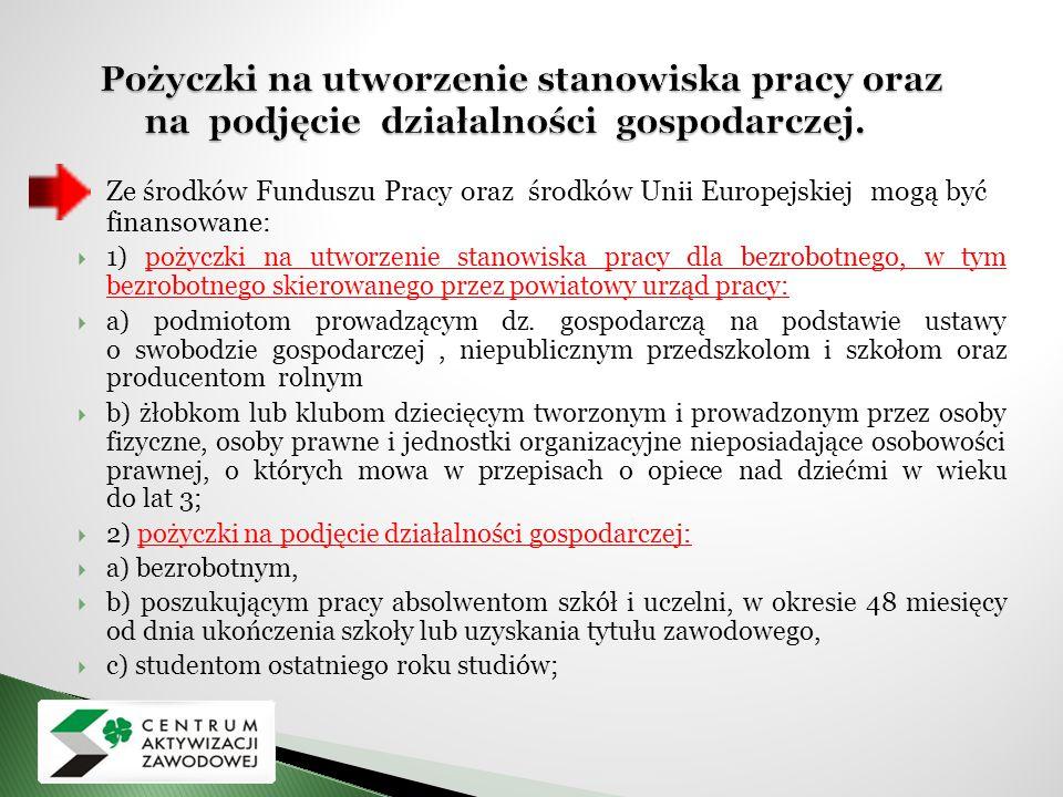  Ze środków Funduszu Pracy oraz środków Unii Europejskiej mogą być finansowane:  1) pożyczki na utworzenie stanowiska pracy dla bezrobotnego, w tym