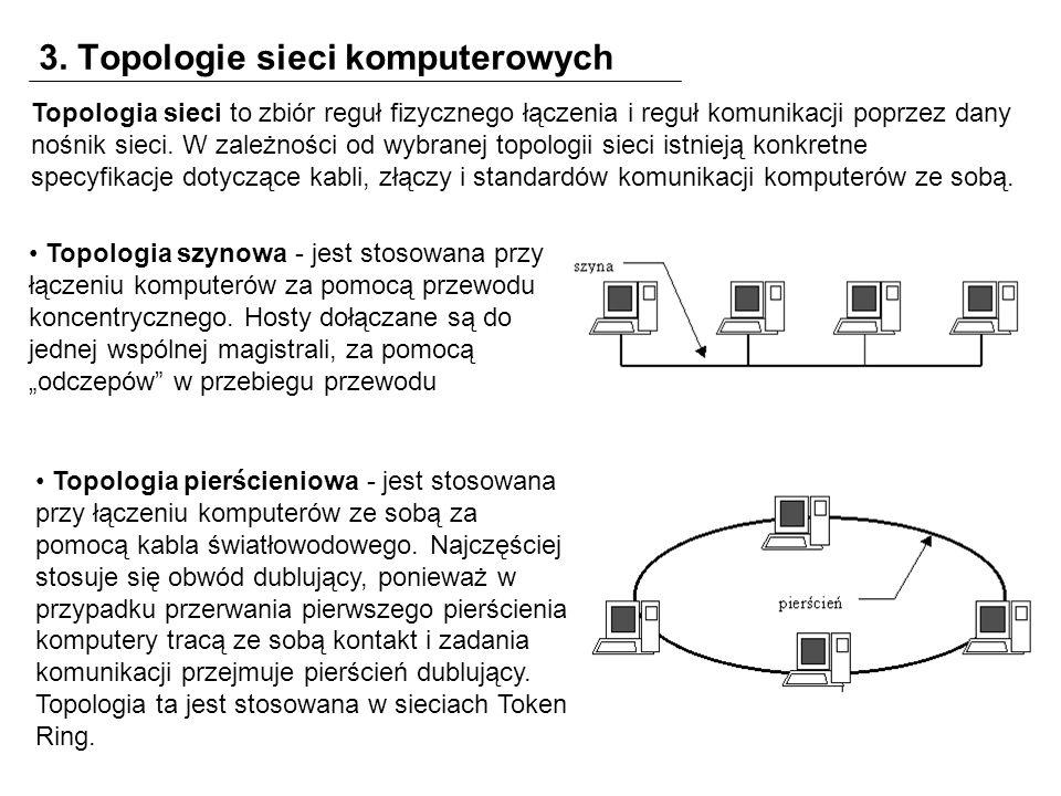 3. Topologie sieci komputerowych Topologia sieci to zbiór reguł fizycznego łączenia i reguł komunikacji poprzez dany nośnik sieci. W zależności od wyb