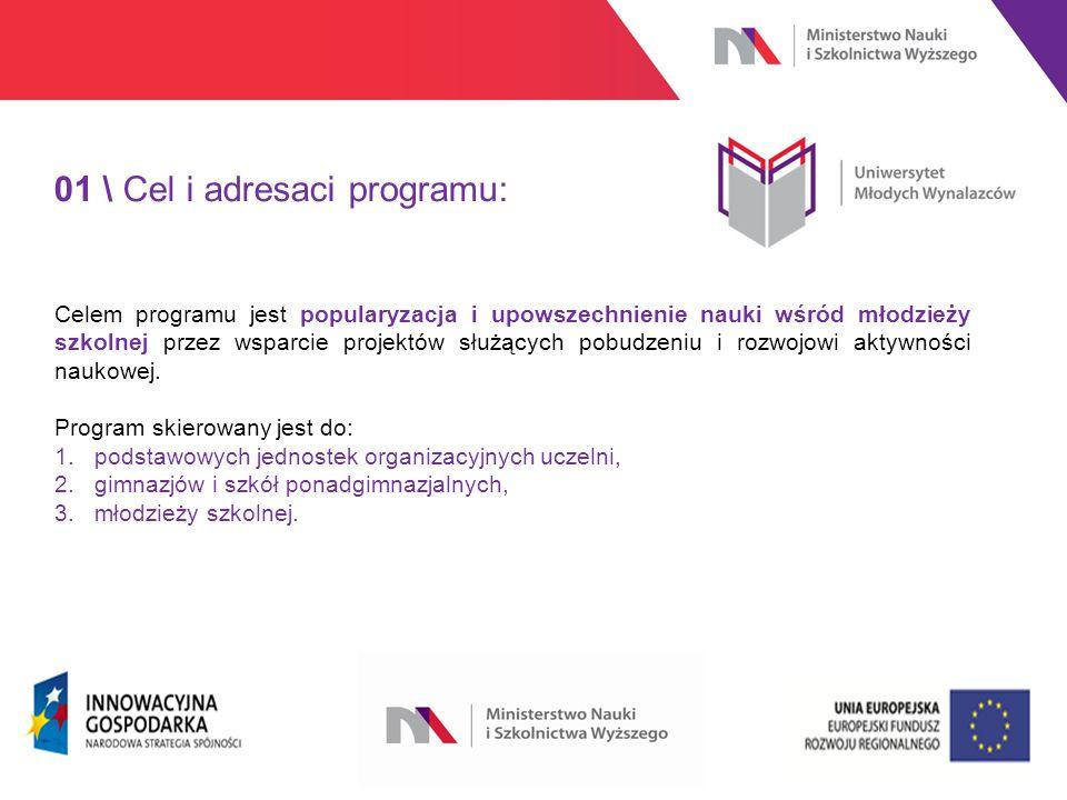 www.nauka.gov.pl 01 \ Cel i adresaci programu: Celem programu jest popularyzacja i upowszechnienie nauki wśród młodzieży szkolnej przez wsparcie projektów służących pobudzeniu i rozwojowi aktywności naukowej.