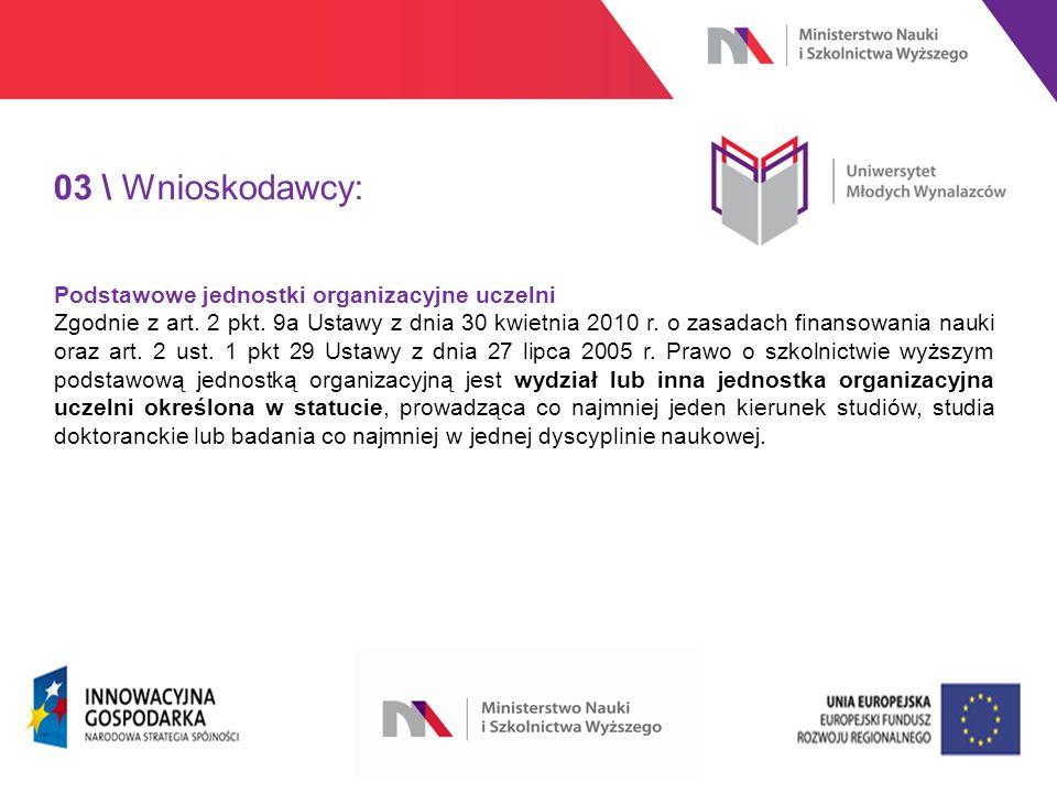 www.nauka.gov.pl 03 \ Wnioskodawcy: Podstawowe jednostki organizacyjne uczelni Zgodnie z art.