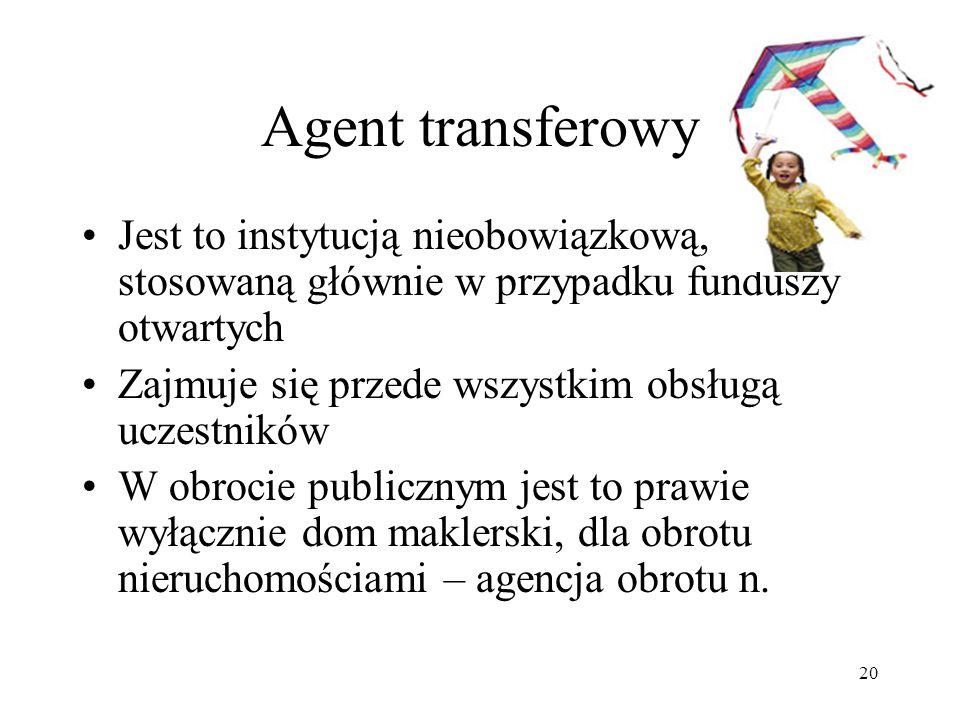 20 Agent transferowy Jest to instytucją nieobowiązkową, stosowaną głównie w przypadku funduszy otwartych Zajmuje się przede wszystkim obsługą uczestników W obrocie publicznym jest to prawie wyłącznie dom maklerski, dla obrotu nieruchomościami – agencja obrotu n.