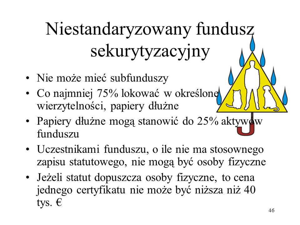 46 Niestandaryzowany fundusz sekurytyzacyjny Nie może mieć subfunduszy Co najmniej 75% lokować w określone wierzytelności, papiery dłużne Papiery dłużne mogą stanowić do 25% aktywów funduszu Uczestnikami funduszu, o ile nie ma stosownego zapisu statutowego, nie mogą być osoby fizyczne Jeżeli statut dopuszcza osoby fizyczne, to cena jednego certyfikatu nie może być niższa niż 40 tys.