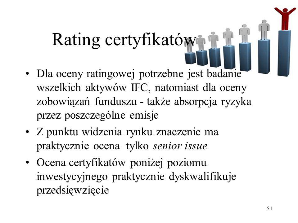 51 Rating certyfikatów Dla oceny ratingowej potrzebne jest badanie wszelkich aktywów IFC, natomiast dla oceny zobowiązań funduszu - także absorpcja ryzyka przez poszczególne emisje Z punktu widzenia rynku znaczenie ma praktycznie ocena tylko senior issue Ocena certyfikatów poniżej poziomu inwestycyjnego praktycznie dyskwalifikuje przedsięwzięcie