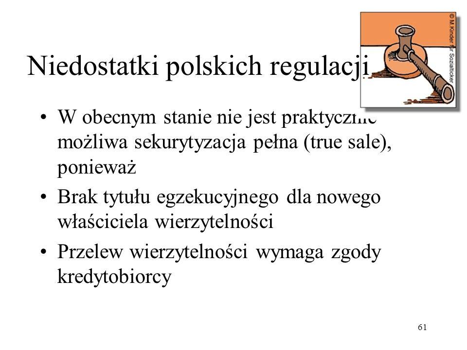 61 W obecnym stanie nie jest praktycznie możliwa sekurytyzacja pełna (true sale), ponieważ Brak tytułu egzekucyjnego dla nowego właściciela wierzytelności Przelew wierzytelności wymaga zgody kredytobiorcy Niedostatki polskich regulacji