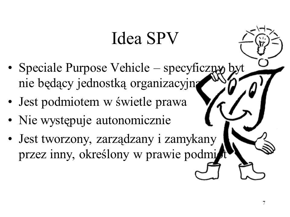 7 Idea SPV Speciale Purpose Vehicle – specyficzny byt nie będący jednostką organizacyjną Jest podmiotem w świetle prawa Nie występuje autonomicznie Jest tworzony, zarządzany i zamykany przez inny, określony w prawie podmiot