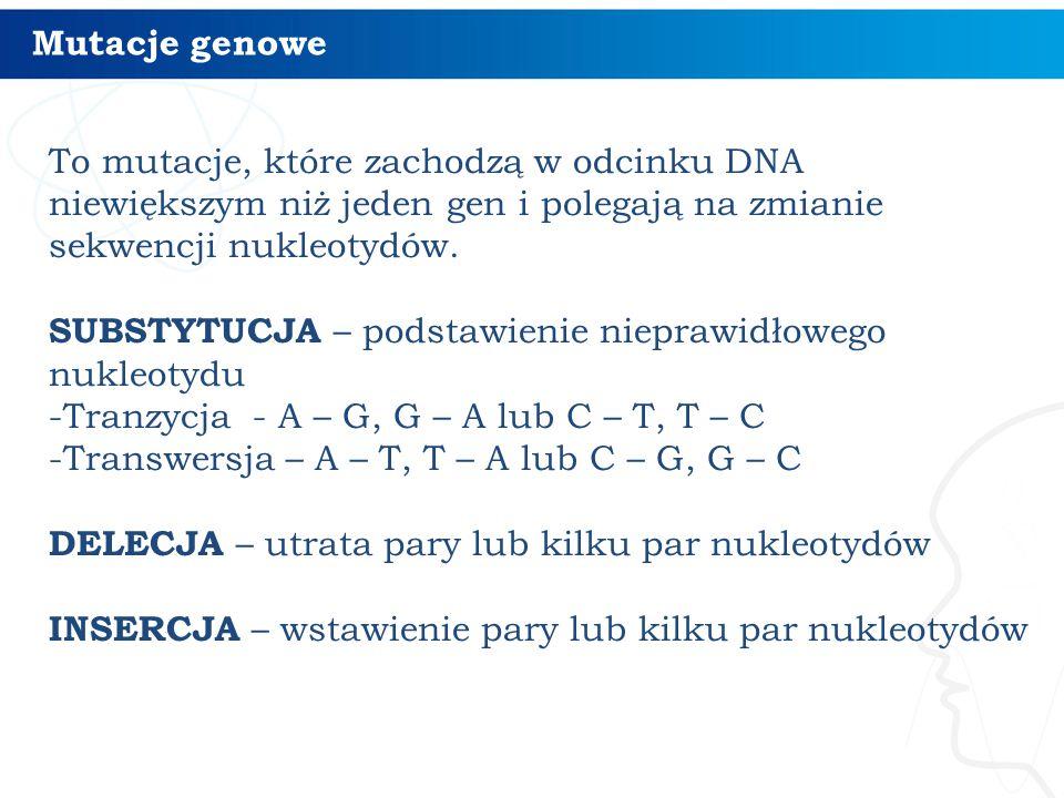 Skutki mutacji genowych w budowie białka 6 MUTACJA ZMIANY SENSU – kodon ulega zmianie w kodon kodujący inny aminokwas i zamiast jednego aminokwasu jest przyłączany inny aminokwas MUTACJA MILCZĄCA – kodon ulega zmianie, ale na taki, który koduje ten sam aminokwas, w łańcuchu polipeptydowym nie występuje żadna zmiana MUTACJA NONSENSOWNA – kodon ulega zmianie w kodon STOP, łańcuch polipeptydowy ulega skróceniu MUTACJA PRZESUNIĘCIA RAMKI ODCZYTU – wypada lub zostaje wstawionych kilka nukleotydów i od miejsca mutacji przesuwa się całkowicie odczyt kodonów