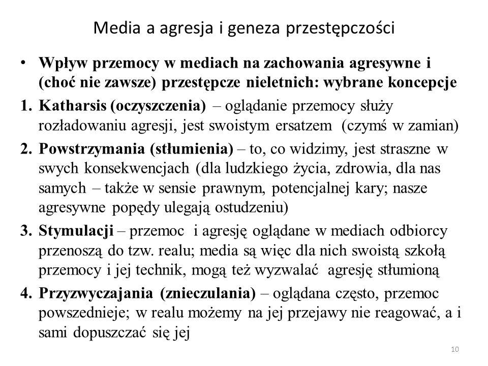 10 Media a agresja i geneza przestępczości Wpływ przemocy w mediach na zachowania agresywne i (choć nie zawsze) przestępcze nieletnich: wybrane koncep