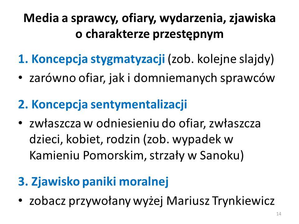 Media a sprawcy, ofiary, wydarzenia, zjawiska o charakterze przestępnym 1. Koncepcja stygmatyzacji (zob. kolejne slajdy) zarówno ofiar, jak i domniema