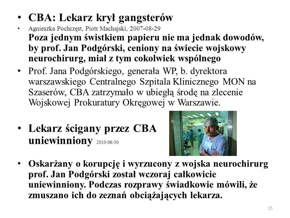 15 CBA: Lekarz krył gangsterów Agnieszka Pochrzęst, Piotr Machajski, 2007-08-29 Poza jednym świstkiem papieru nie ma jednak dowodów, by prof. Jan Podg