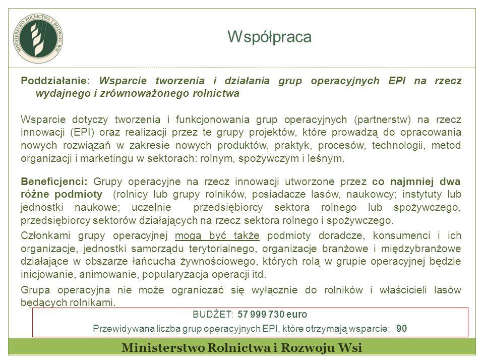 Współpraca Ministerstwo Rolnictwa i Rozwoju Wsi Poddziałanie: Wsparcie tworzenia i działania grup operacyjnych EPI na rzecz wydajnego i zrównoważonego rolnictwa Wsparcie dotyczy tworzenia i funkcjonowania grup operacyjnych (partnerstw) na rzecz innowacji (EPI) oraz realizacji przez te grupy projektów, które prowadzą do opracowania nowych rozwiązań w zakresie nowych produktów, praktyk, procesów, technologii, metod organizacji i marketingu w sektorach: rolnym, spożywczym i leśnym.
