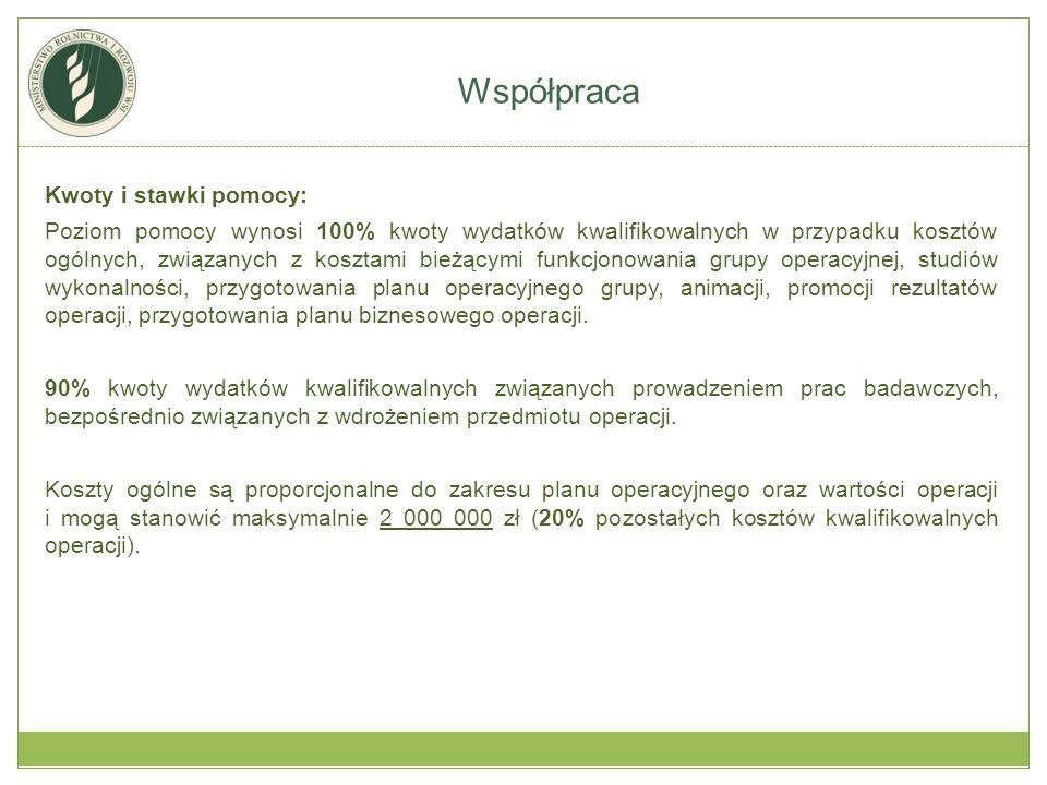 Kwoty i stawki pomocy: Maksymalna wartość wsparcia związana z kosztami bezpośrednimi operacji i kosztami badań prowadzonych przez grupę operacyjną EPI wynosi 10 000 000 zł.