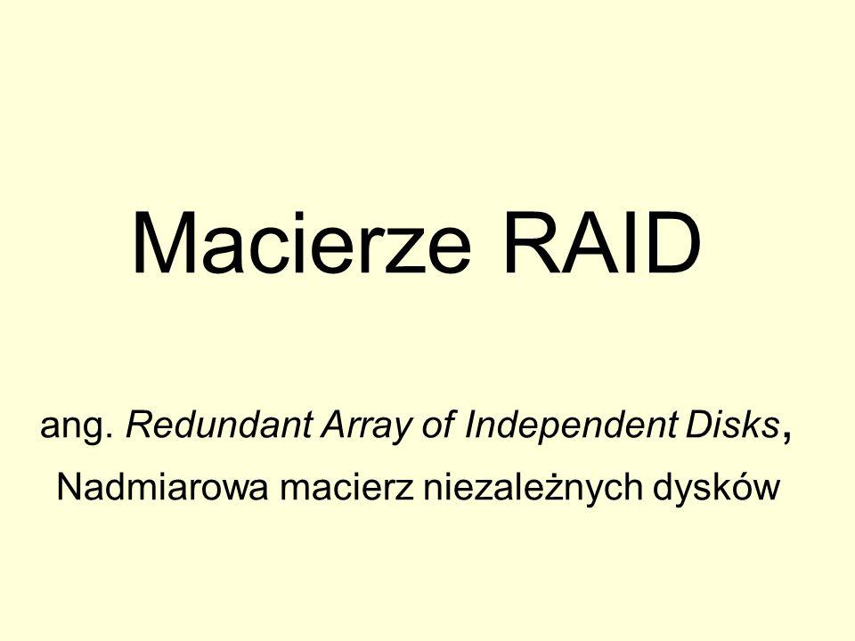 RAID 6 Macierz z podwójną parzystością, realizowana np.