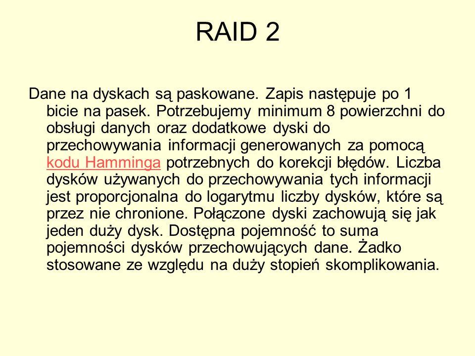 RAID 2 Dane na dyskach są paskowane.Zapis następuje po 1 bicie na pasek.