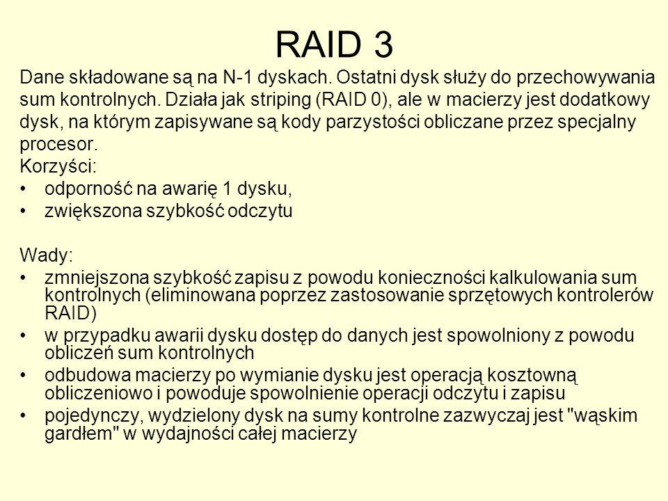 RAID 3 Dane składowane są na N-1 dyskach.Ostatni dysk służy do przechowywania sum kontrolnych.