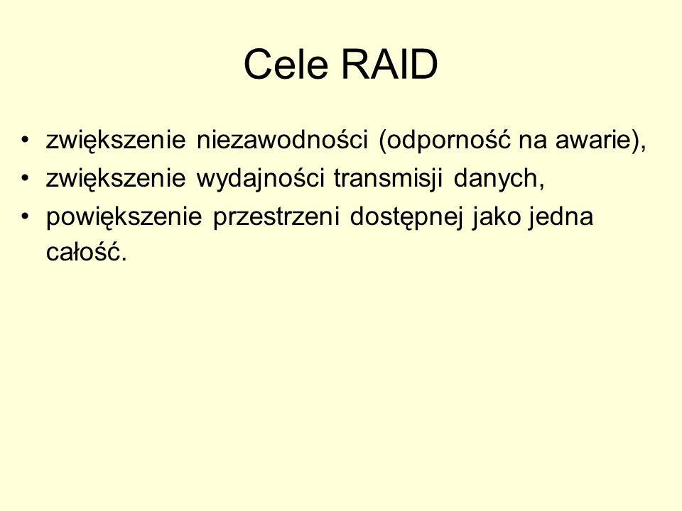 Cele RAID zwiększenie niezawodności (odporność na awarie), zwiększenie wydajności transmisji danych, powiększenie przestrzeni dostępnej jako jedna całość.