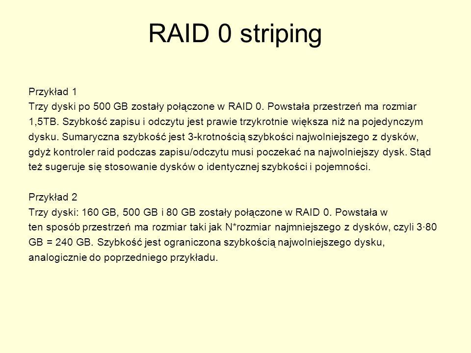 RAID 4 RAID 4 jest bardzo zbliżony do RAID 3, z tą różnicą, że dane są dzielone na większe bloki (16, 32, 64 lub 128 kB).