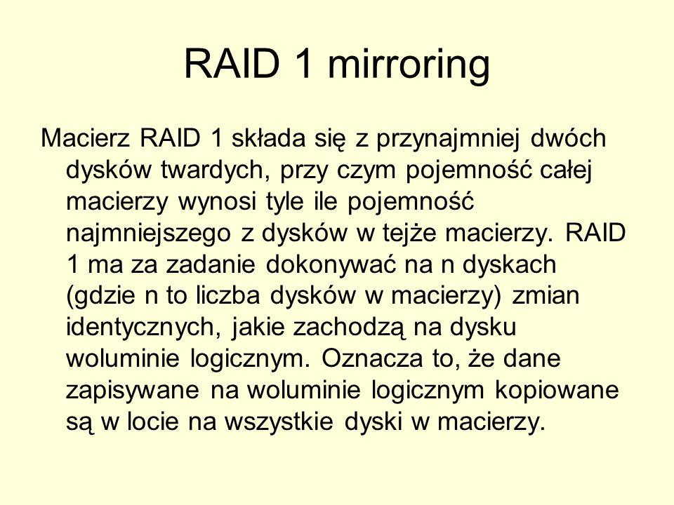 RAID 1 mirroring Macierz RAID 1 składa się z przynajmniej dwóch dysków twardych, przy czym pojemność całej macierzy wynosi tyle ile pojemność najmniejszego z dysków w tejże macierzy.