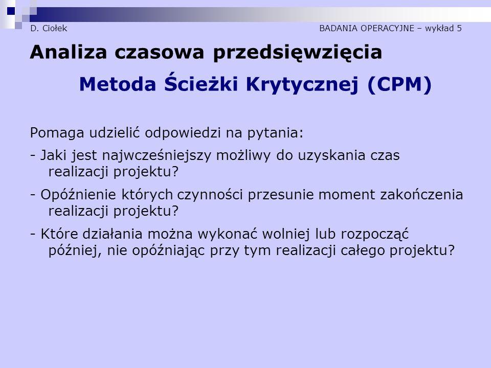 D. Ciołek BADANIA OPERACYJNE – wykład 5 Analiza czasowa przedsięwzięcia Metoda Ścieżki Krytycznej (CPM) Pomaga udzielić odpowiedzi na pytania: - Jaki