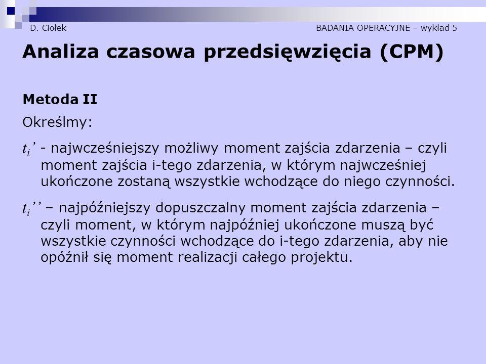 D. Ciołek BADANIA OPERACYJNE – wykład 5 Analiza czasowa przedsięwzięcia (CPM) Metoda II Określmy: t i ' - najwcześniejszy możliwy moment zajścia zdarz