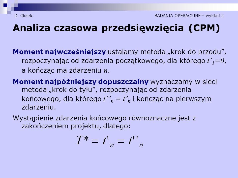 """D. Ciołek BADANIA OPERACYJNE – wykład 5 Analiza czasowa przedsięwzięcia (CPM) Moment najwcześniejszy ustalamy metoda """"krok do przodu"""", rozpoczynając o"""