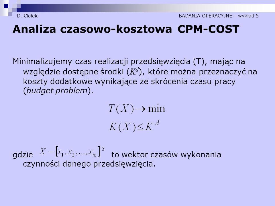 D. Ciołek BADANIA OPERACYJNE – wykład 5 Analiza czasowo-kosztowa CPM-COST Minimalizujemy czas realizacji przedsięwzięcia (T), mając na względzie dostę