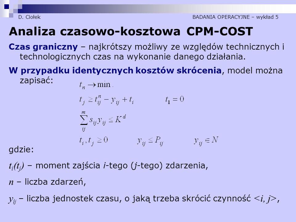 D. Ciołek BADANIA OPERACYJNE – wykład 5 Analiza czasowo-kosztowa CPM-COST Czas graniczny – najkrótszy możliwy ze względów technicznych i technologiczn