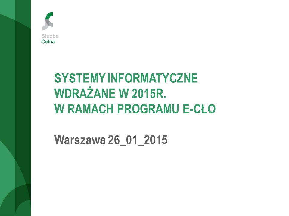 SYSTEMY INFORMATYCZNE WDRAŻANE W 2015R. W RAMACH PROGRAMU E-CŁO Warszawa 26_01_2015