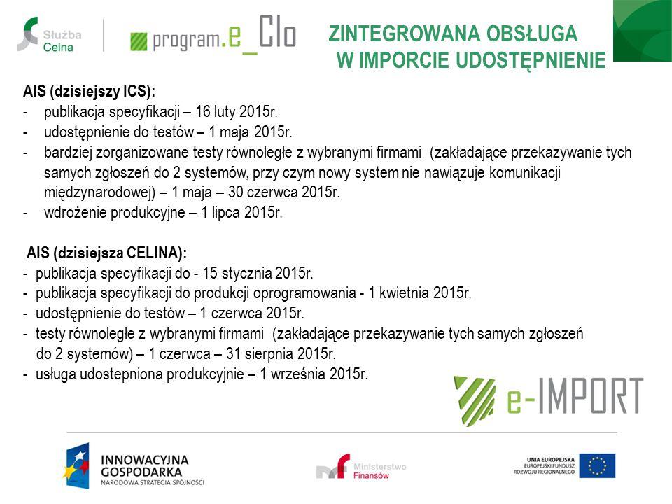 ZINTEGROWANA OBSŁUGA W IMPORCIE UDOSTĘPNIENIE AIS (dzisiejszy ICS): -publikacja specyfikacji – 16 luty 2015r. -udostępnienie do testów – 1 maja 2015r.