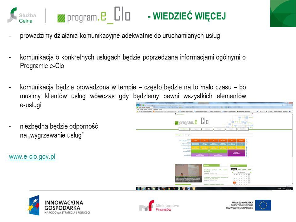- WIEDZIEĆ WIĘCEJ -prowadzimy działania komunikacyjne adekwatnie do uruchamianych usług -komunikacja o konkretnych usługach będzie poprzedzana informa