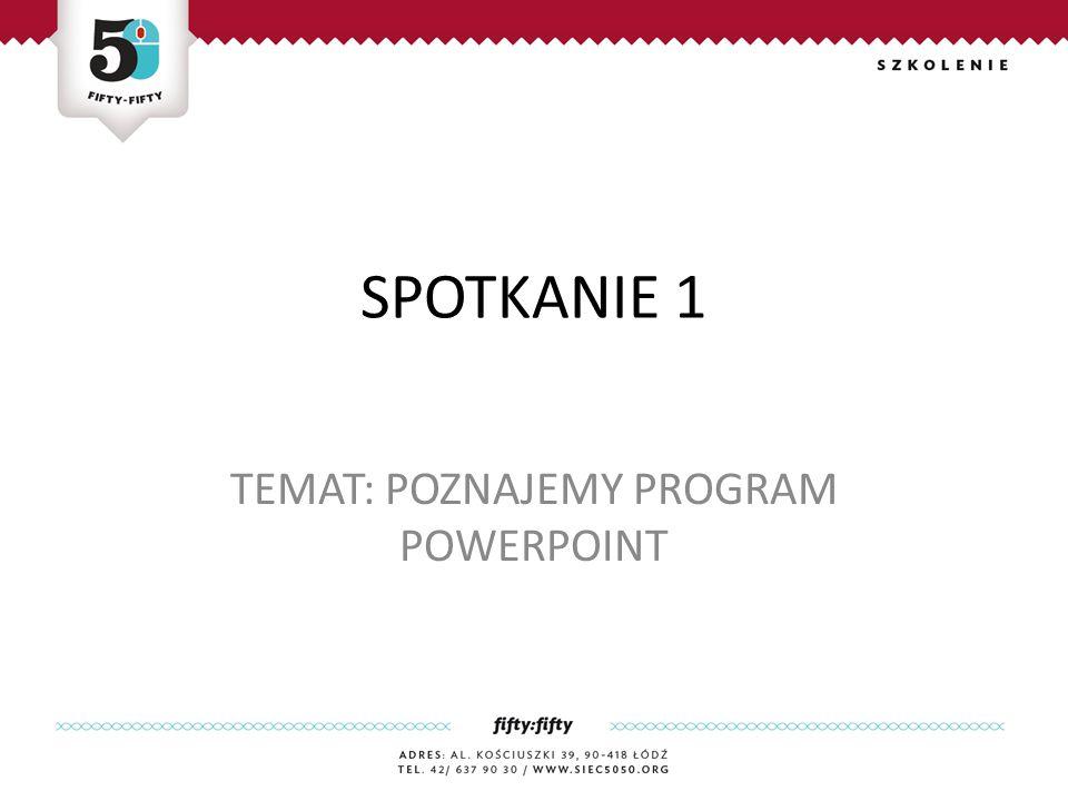 SPOTKANIE 1 TEMAT: POZNAJEMY PROGRAM POWERPOINT