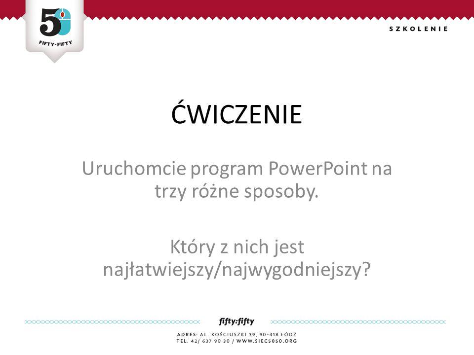 ĆWICZENIE Uruchomcie program PowerPoint na trzy różne sposoby.