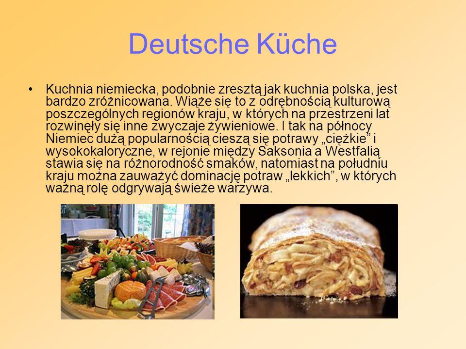 Kuchnia niemiecka, podobnie zresztą jak kuchnia polska, jest bardzo zróżnicowana. Wiąże się to z odrębnością kulturową poszczególnych regionów kraju,