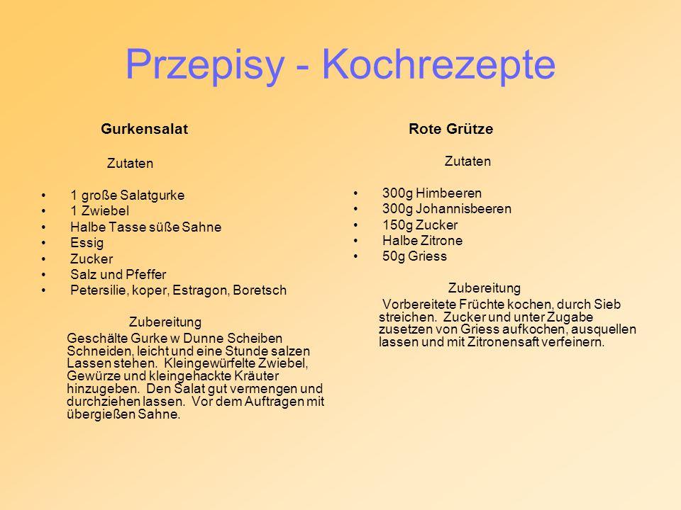 Przepisy - Kochrezepte Gurkensalat Zutaten 1 große Salatgurke 1 Zwiebel Halbe Tasse süße Sahne Essig Zucker Salz und Pfeffer Petersilie, koper, Estrag