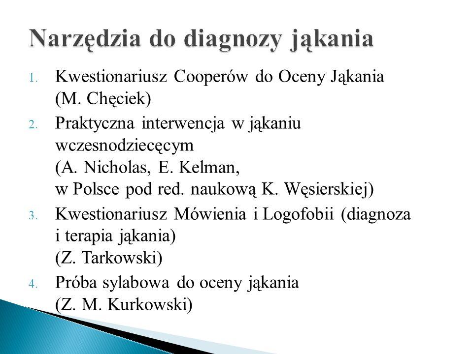 1.Kwestionariusz Cooperów do Oceny Jąkania (M. Chęciek) 2.