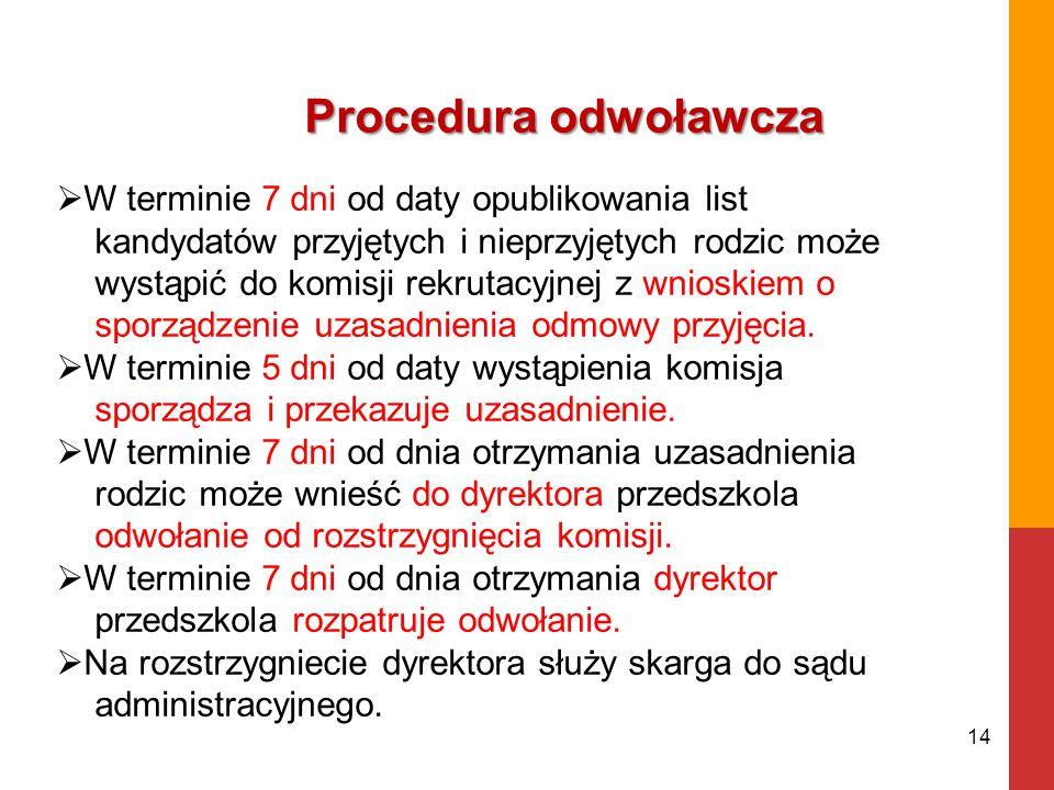 Procedura odwoławcza 14  W terminie 7 dni od daty opublikowania list kandydatów przyjętych i nieprzyjętych rodzic może wystąpić do komisji rekrutacyjnej z wnioskiem o sporządzenie uzasadnienia odmowy przyjęcia.