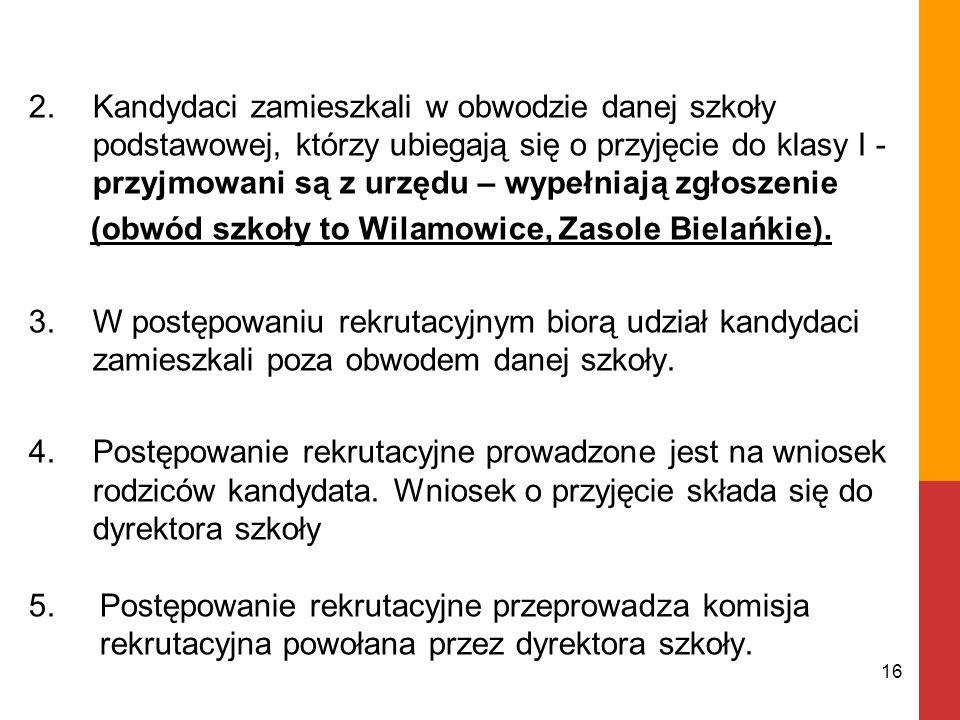 2.Kandydaci zamieszkali w obwodzie danej szkoły podstawowej, którzy ubiegają się o przyjęcie do klasy I - przyjmowani są z urzędu – wypełniają zgłoszenie (obwód szkoły to Wilamowice, Zasole Bielańkie).