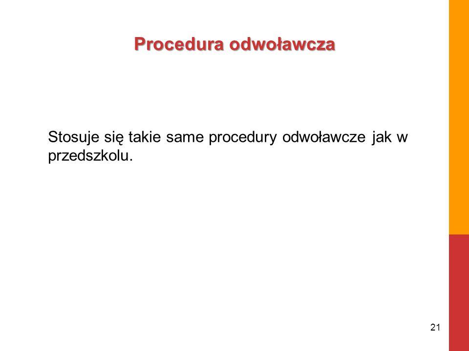 Procedura odwoławcza Stosuje się takie same procedury odwoławcze jak w przedszkolu. 21