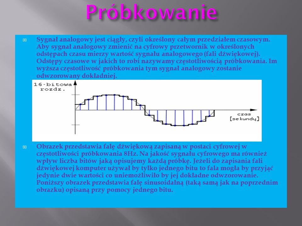  Sygnał analogowy jest ciągły, czyli określony całym przedziałem czasowym. Aby sygnał analogowy zmienić na cyfrowy przetwornik w określonych odstępac