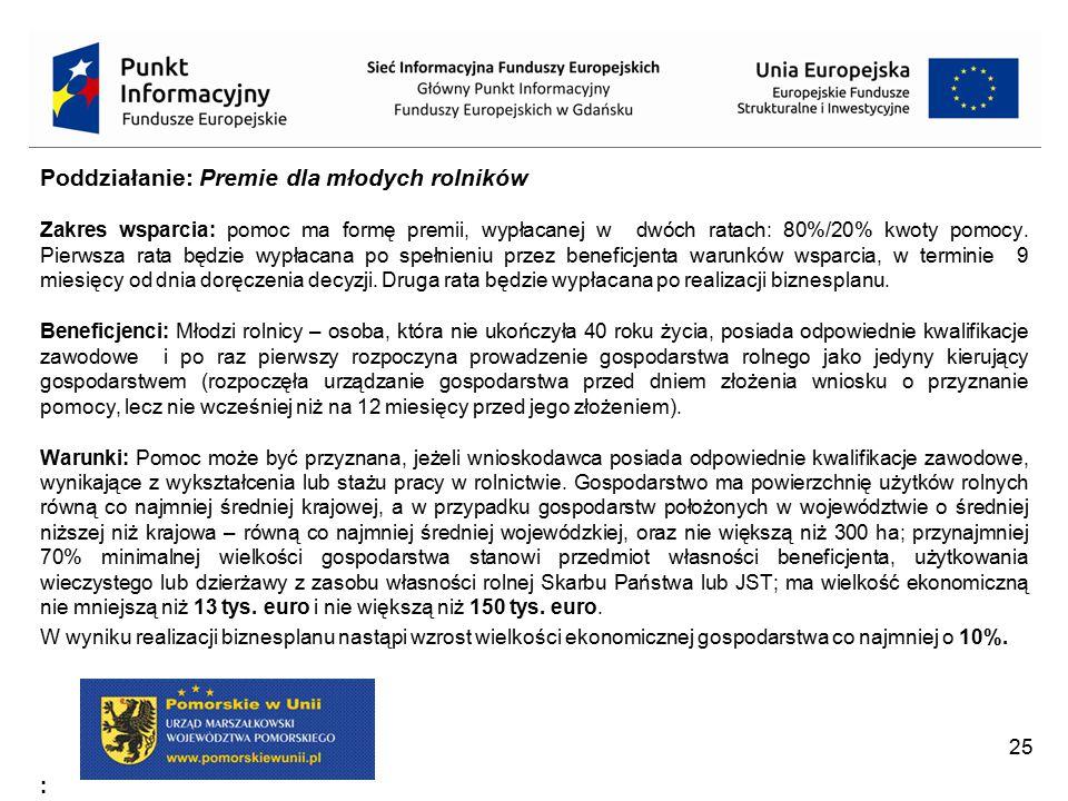 Poddziałanie: Premie dla młodych rolników c.d.