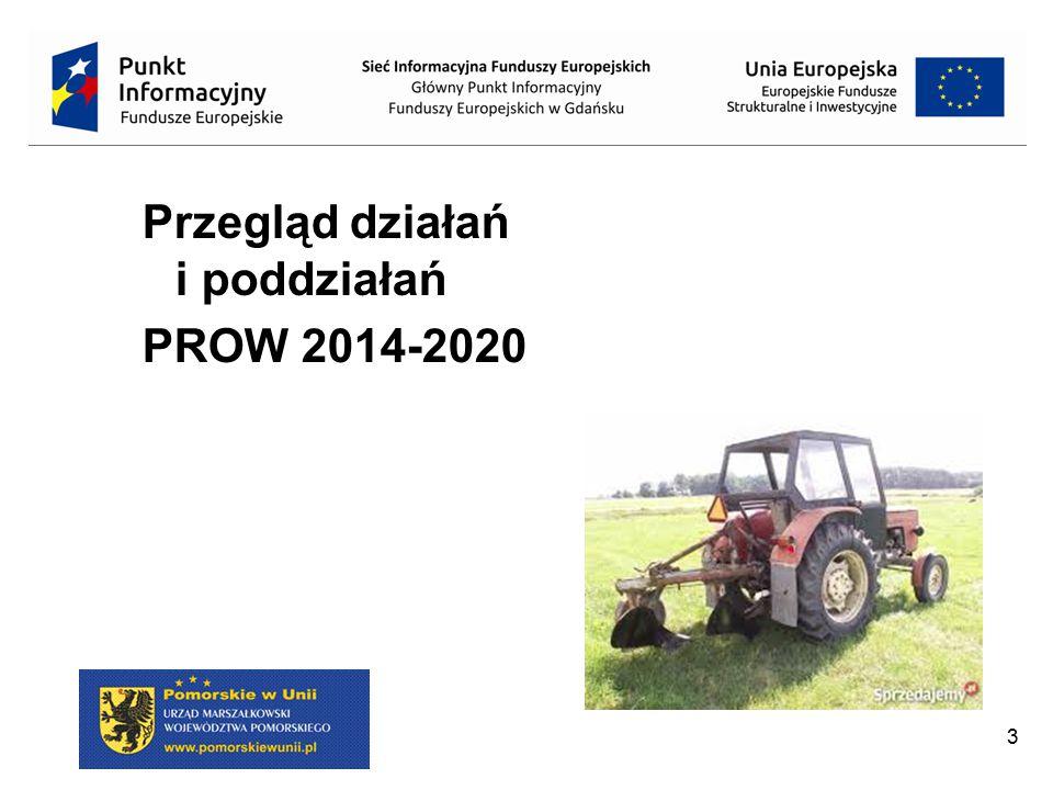 PROW 2014-2020 realizowany będzie poprzez 15 działań oraz 35 poddziałań Priorytet 1 ułatwianie transferu wiedzy i innowacji w rolnictwie i leśnictwie oraz na obszarach wiejskich Transfer wiedzy i działalność informacyjna; Usługi doradcze, usługi z zakresu zarządzania gospodarstwem i usługi z zakresu zastępstw; Współpraca.