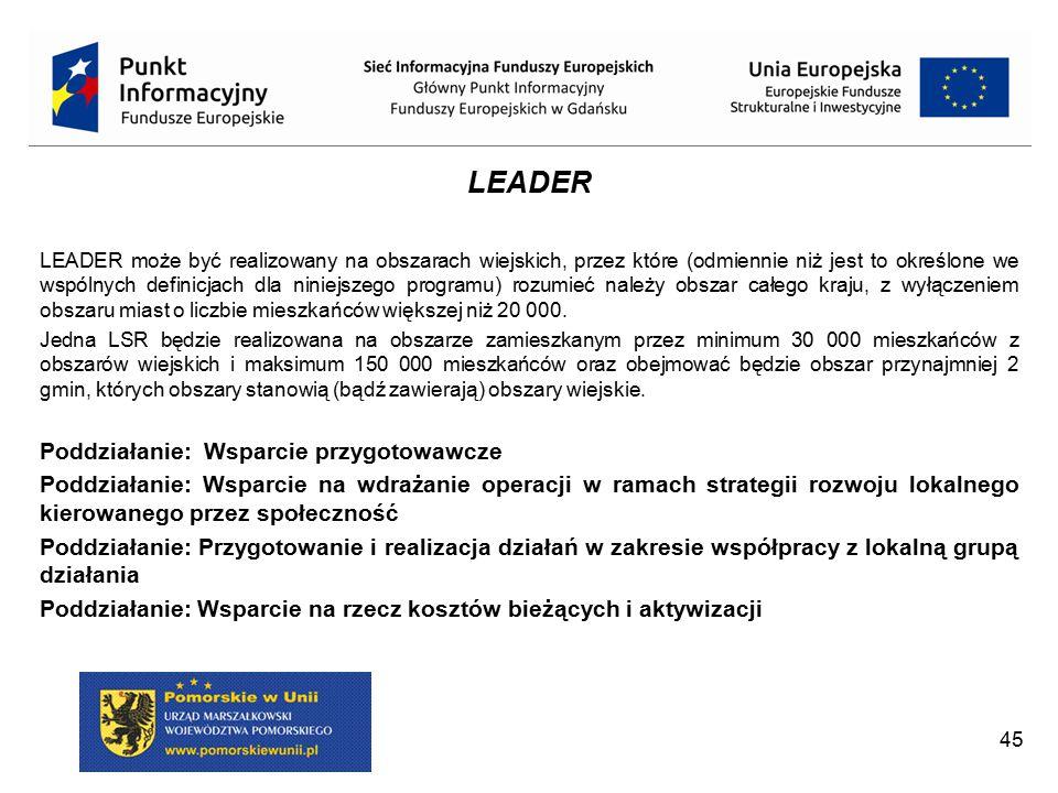 LEADER Poddziałanie: Wsparcie przygotowawcze Zakres wsparcia: Podnoszenie kompetencji LGD i społeczności lokalnych, szkolenie i tworzenie sieci kontaktów oraz wypracowanie mechanizmów współpracy i włączania lokalnych społeczności w celu przygotowania i wdrożenia LSR.